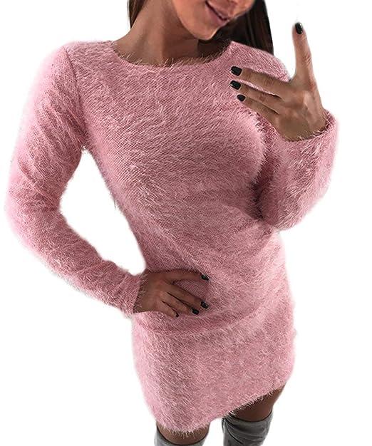 Invierno Vestido Mujer Manga Larga Cuello Redondo Polares Caliente Suéter De Punto Vestidos Pullover Slim Fit