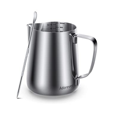 Milk Frothing Pitcher 350ml 600ml 900ml 1500ml(12oz 20oz 32oz 50oz) Steaming Pitchers Stainless Steel Milk Coffee Cappuccino Latte Art Barista Steam Pitchers Milk Jug Cup with Decorating Art Pen