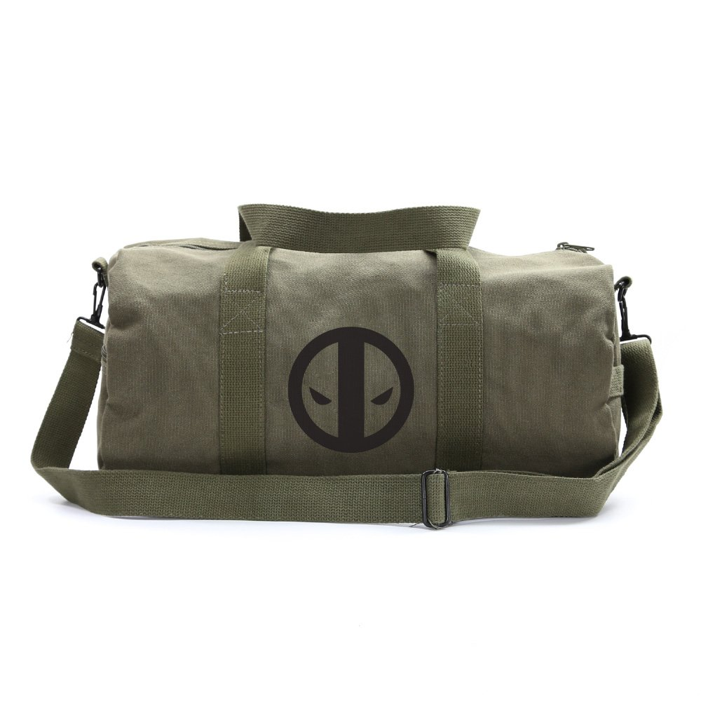 Deadpool Logo Sport Heavyweight Canvas Duffel Bag in Olive & Black, Large