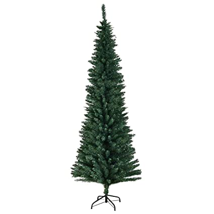 goplus pvc artificial pencil christmas tree slim tree wmetal stand for indoor and outdoor - Outdoor Metal Christmas Trees