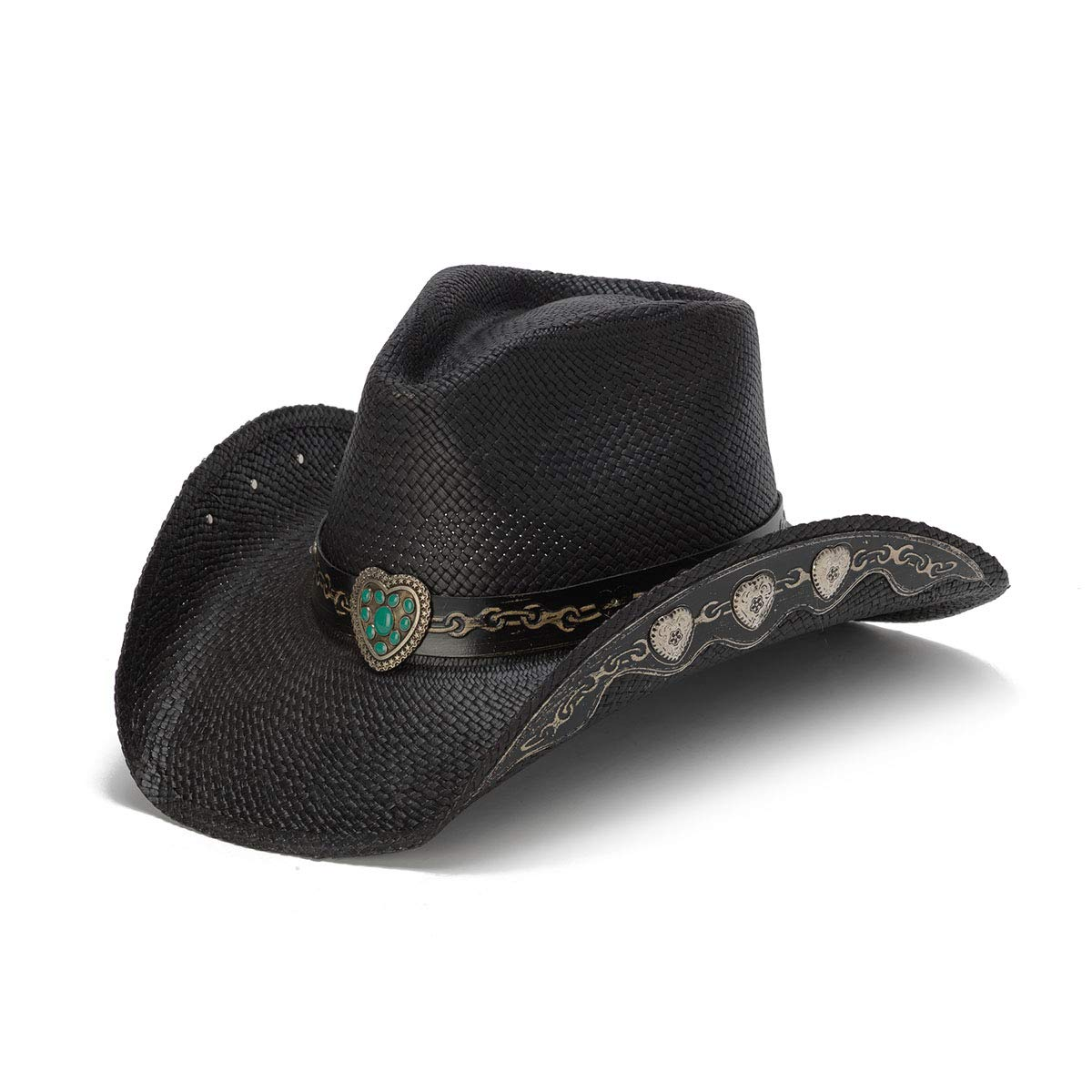 Stampede Hats Women's Hardhearted Hearts and Chains Straw Western Hat L Black