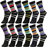 Yelete Mens Cotton Dress Socks (12 Pack) Size 10-13 Multicolored