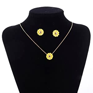 ARICO Gold Plated Jewelry Set Sunflower Necklace Set Earrings Simple Jewelry Sets Necklaces & Pendants NE918