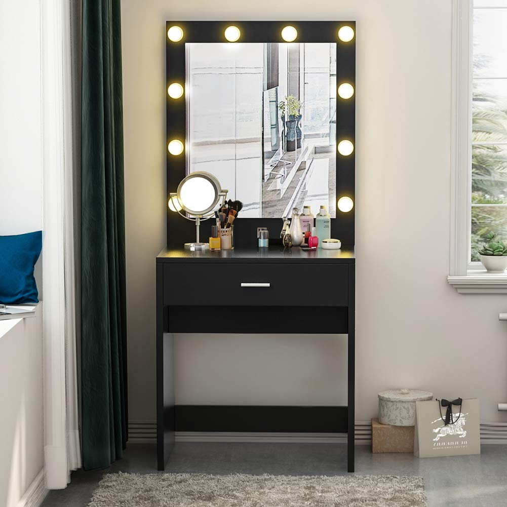 Tribesigns Vanity Set with Lighted Mirror, Makeup Vanity Dressing Table Dresser Desk with Large Drawre for Bedroom, Black (10 Warm LED Bulb) by Tribesigns