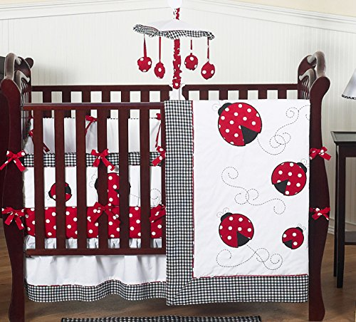 Sweet Jojo Designs 9-Piece Red and White Polka Dot Ladybug Baby Girl Bedding Crib Set ()