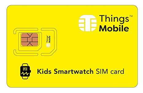Tarjeta SIM para SMARTWATCH / RELOJ INTELIGENTE PARA NIÑOS - Things Mobile - cobertura global, red multioperador GSM/2G/3G/4G, sin costes fijos, sin ...