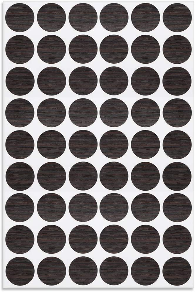 uxcell Screw Hole Covers Stickers Textured Plastic Self Adhesive Stickers for Wood Furniture Cabinet Shelve Plate 21mm Dia 54pcs in 1Sheet Black Walnut, PC-188