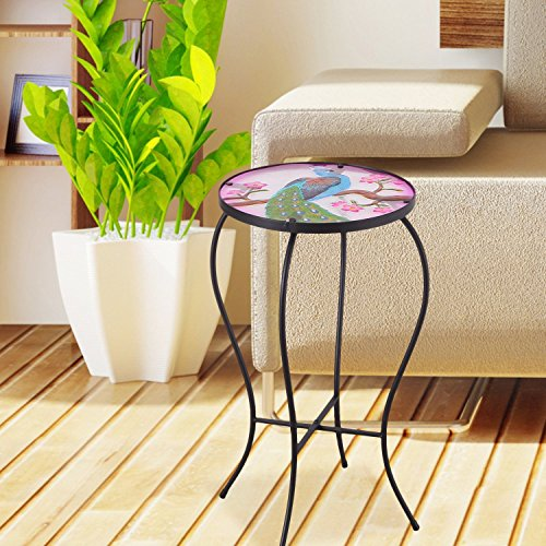(Adeco Round Side Table Plant Stand Accents Serving Snack Tea Glass Top)