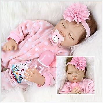 Amazon.es: ZIYIUI 55cm Muñeco Bebé Reborn Muñecas Niña Ojos Cerrados Bebe Realista Baby Doll Silicona Vinilo Dormir Toddler Magnetismo Juguetes: Juguetes y juegos