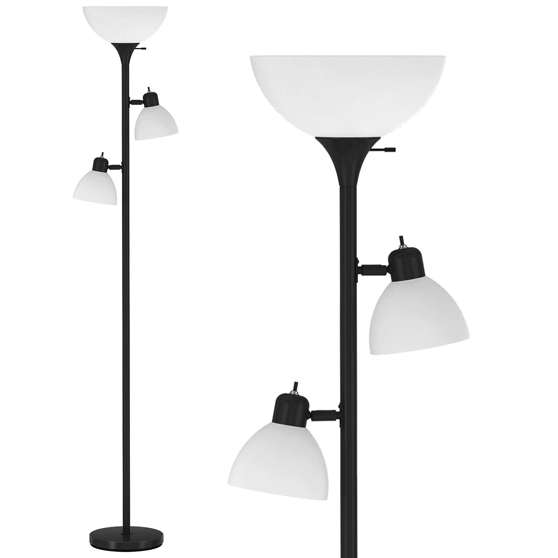 """Light Accents Torchiere Floor Lamp 150 Watt 72"""" Tall (Black (3-Light))"""