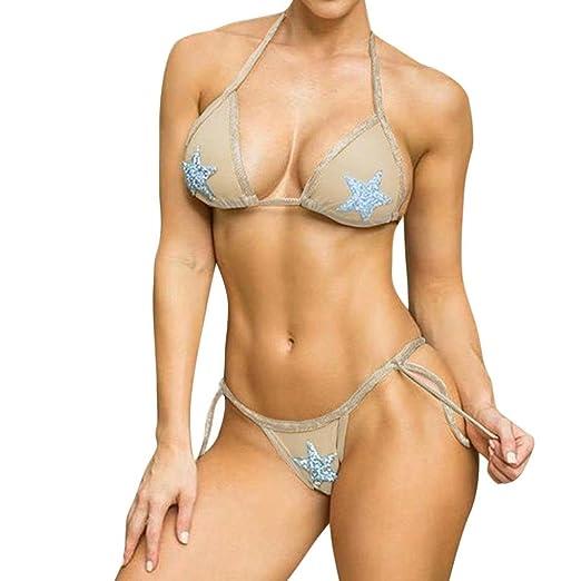 b8ae1665b41f3 Amazon.com  Inkach Sexy Two Piece Swimsuit - Womens Halter Push-Up Padded Bikini  Set Bathing Suit Swimwear  Clothing