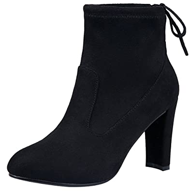 Women's Soft Flannelette Elegant High Block Heel Ankle Boots Adjustable Shaft Width With Drawstring