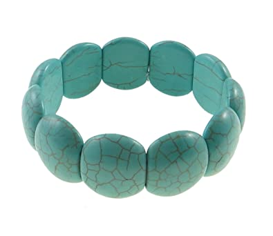 Vifaleno Bracelet Turquoise de Mode, Turquoise Naturelle, Bleu, 19x22mm