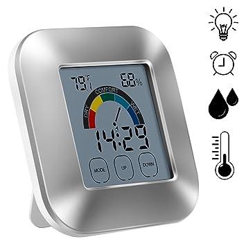 Indoor Digital higrómetro, termómetro tiempo pantalla táctil de tipo reloj meteorológico comodidad Indicador electrónico, reloj, temperatura, humedad, ...