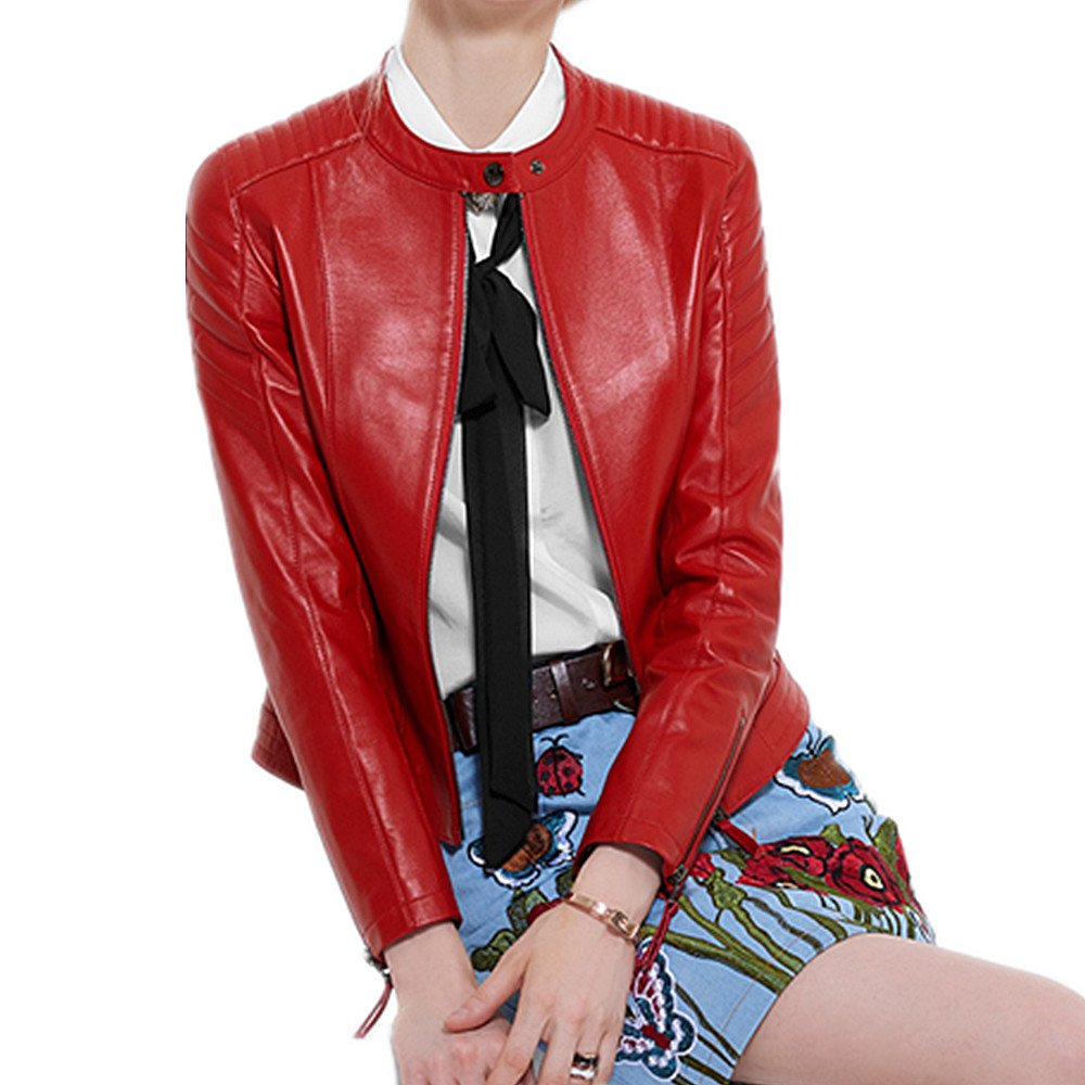 QJH Womens Classic Leather Jacket Red