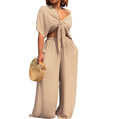 e23f73a8b94 AEL Womens Sexy Tie Crop Top Wide Leg Long Pants 2 Piece Outfits Summer  Short Sleeve