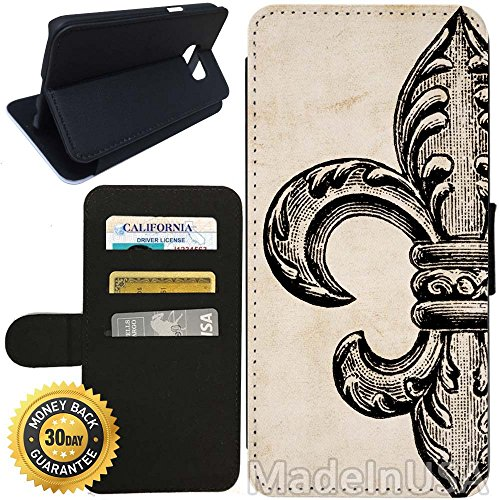 - Flip Wallet Case for Galaxy S7 (Vintage Fleur De Lis) with Adjustable Stand and 3 Card Holders | Shock Protection | Lightweight | Includes Stylus Pen by Innosub