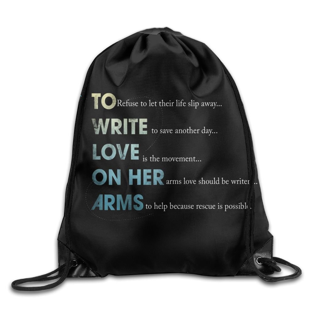 Nollm To Write Love On Her Arms Large Drawstring Sport Backpack Sack Bag Sackpack