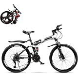 Foldable Mountain Bike 26 Inches, MTB Bicycle with Spoke Wheel, Double Disc Brake and Full Suspension Men's Bicycle