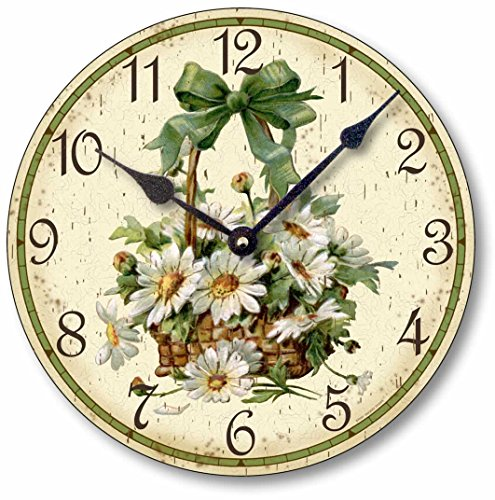 Fairy Freckles Studios Item C6030 Vintage Victorian Style 10.5 Inch Daisies Clock ()