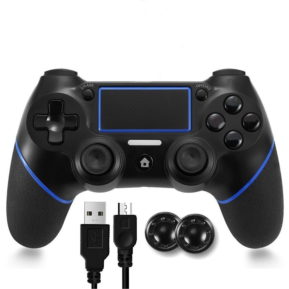 PS4 Controller, Wireless Bluetooth Gamepad Six-Axies DualShock 4 Controller for PlayStation 4 Touch Panel Joypad with Dual Vibration Game Remote Control Joystick (Black)