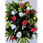 Spring-Cemetery-Flowers-for-Headstone-and-Grave-Decoration-Pink-Green-and-White-Rose-Mix-Saddle