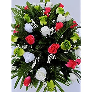 Spring Cemetery Flowers for Headstone and Grave Decoration-Pink Green and White Rose Mix Saddle 2