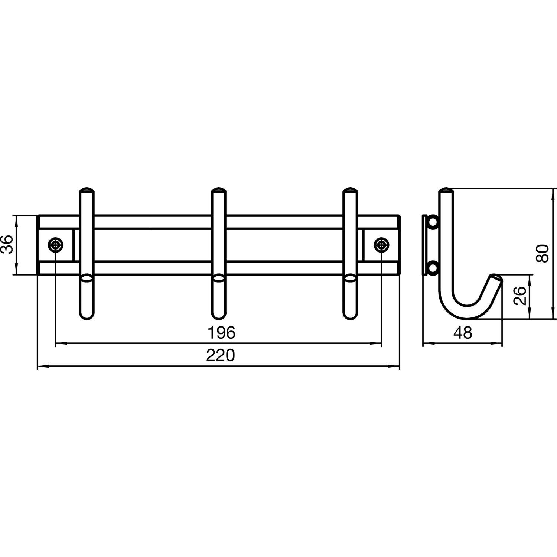 Edelstahl geb/ürstet SIRO 2256-220N1V1E Garderobenleiste Satis mit 3 Haken Breite 220 mm
