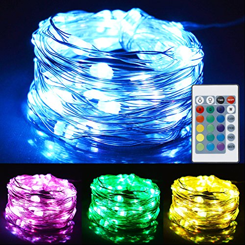 16' Rope Light (LEADO 2 Set LED String Lights 16 Colors 4 Modes Fairy Lights Waterproof Rope Lights Battery Operated 16FT 50LEDs Firefly Light with Remote Control for Bedroom Patio Christmas Decor)