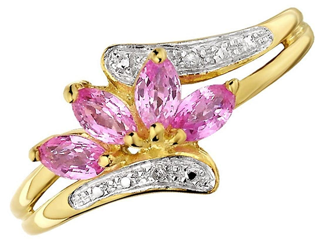 F.Hinds Womens Jewellery Jewelry 9ct Gold Diamond And Pink Sapphire ...