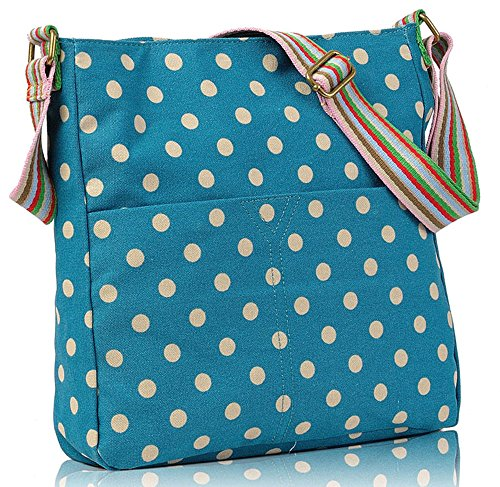Womens Polka Ladies Cross Dots Shoulder Bag Canvas Blue Body Handbag Messenger SUqrwSxCH
