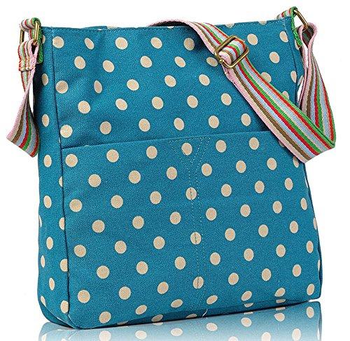 Canvas Ladies Dots Polka Messenger Womens Cross Blue Body Handbag Bag Shoulder 6Y1dw