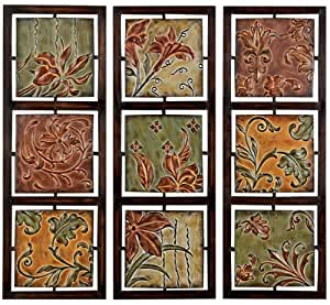 tuscan fleur de lis hanging metal wall art panels set of 3 home kitchen. Black Bedroom Furniture Sets. Home Design Ideas