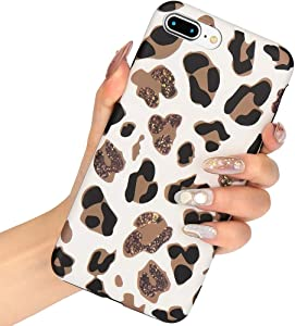 L-FADNUT Case Animal Leopard Print Phone Case Cool For iPhone 6 Plus iPhone 6S Plus Thin Cute Back Cover Cheetah Gel Silicone TPU Protective Cover(NO REAL GLITTER) For iPhone 6 Plus 6S Plus Case White