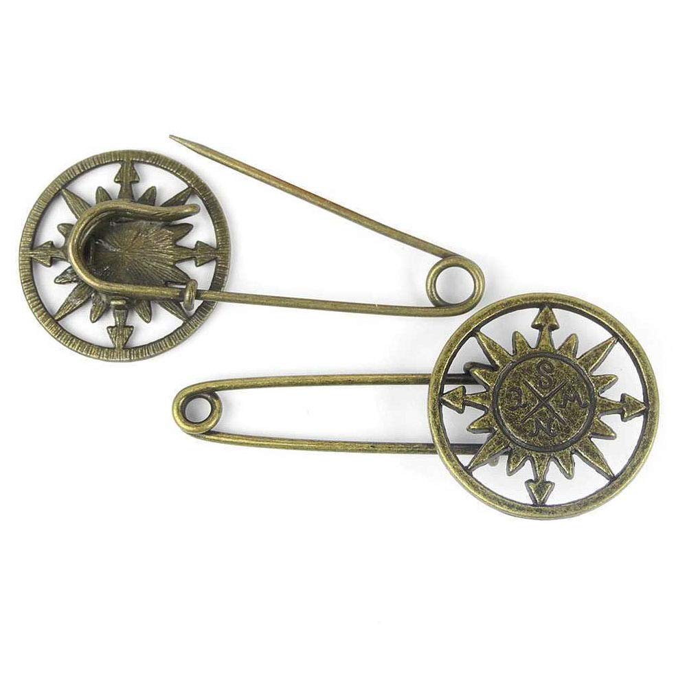 Price per 180 Pieces Antique Bronze Tone Jewelry Charms Findings Arts Crafts Beading Making Charmes 643315 Compass Safety Pins Brooch by ebemallmall Charms (Image #1)
