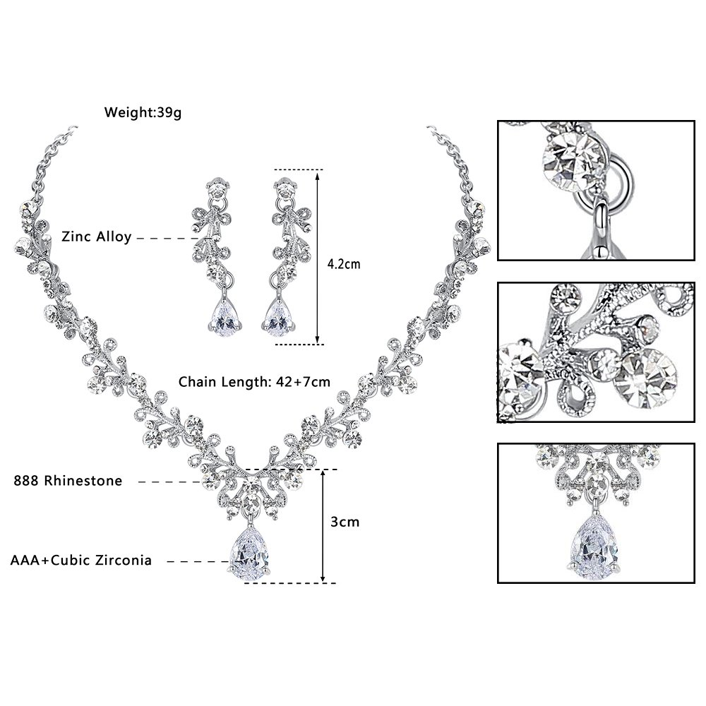 Friendly Mecresh Wedding Leaf Cubic Zirconia Necklace Earring And Tiara Jewelry Set For Jewelry & Watches Bridal & Wedding Party Jewelry