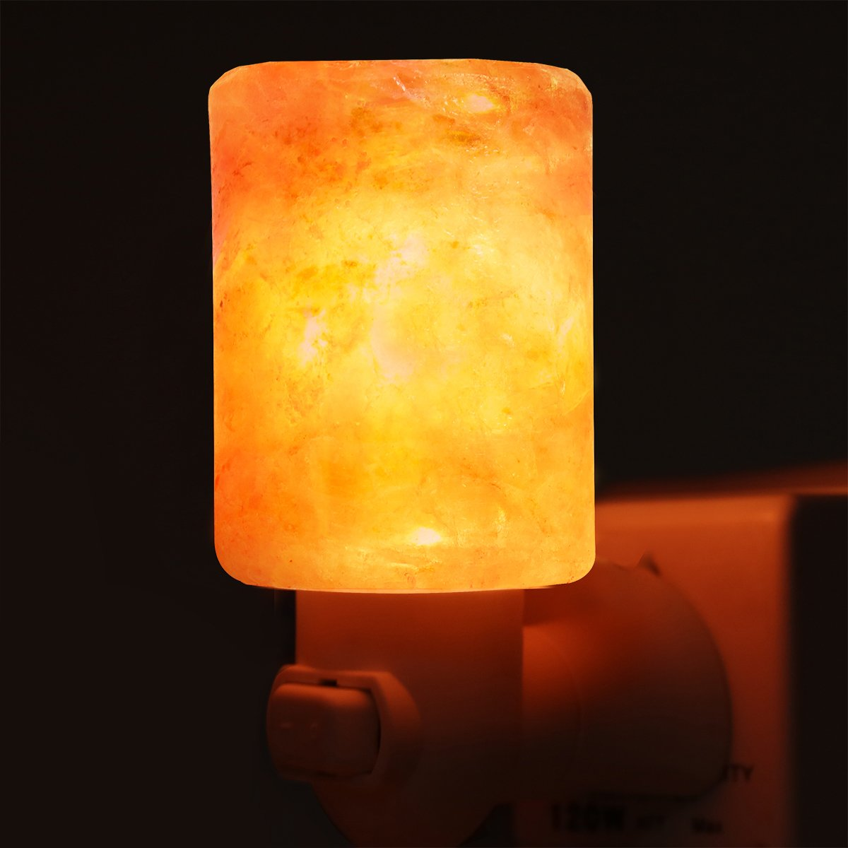 Haraqi Himalayan Salt Lamp Night Light Hand Carved Wall light with UL Approval Listed Plug for Living Dining Bed Room and Office (Cylinder-shaped one pack)