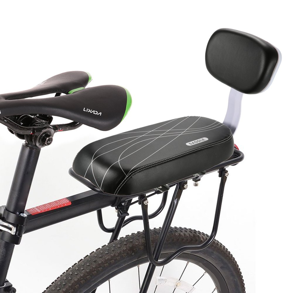 Lixada Bicycle Back Seat MTB PU Leather Soft Cushion Rear Rack Seat Children Seat with Back Rest