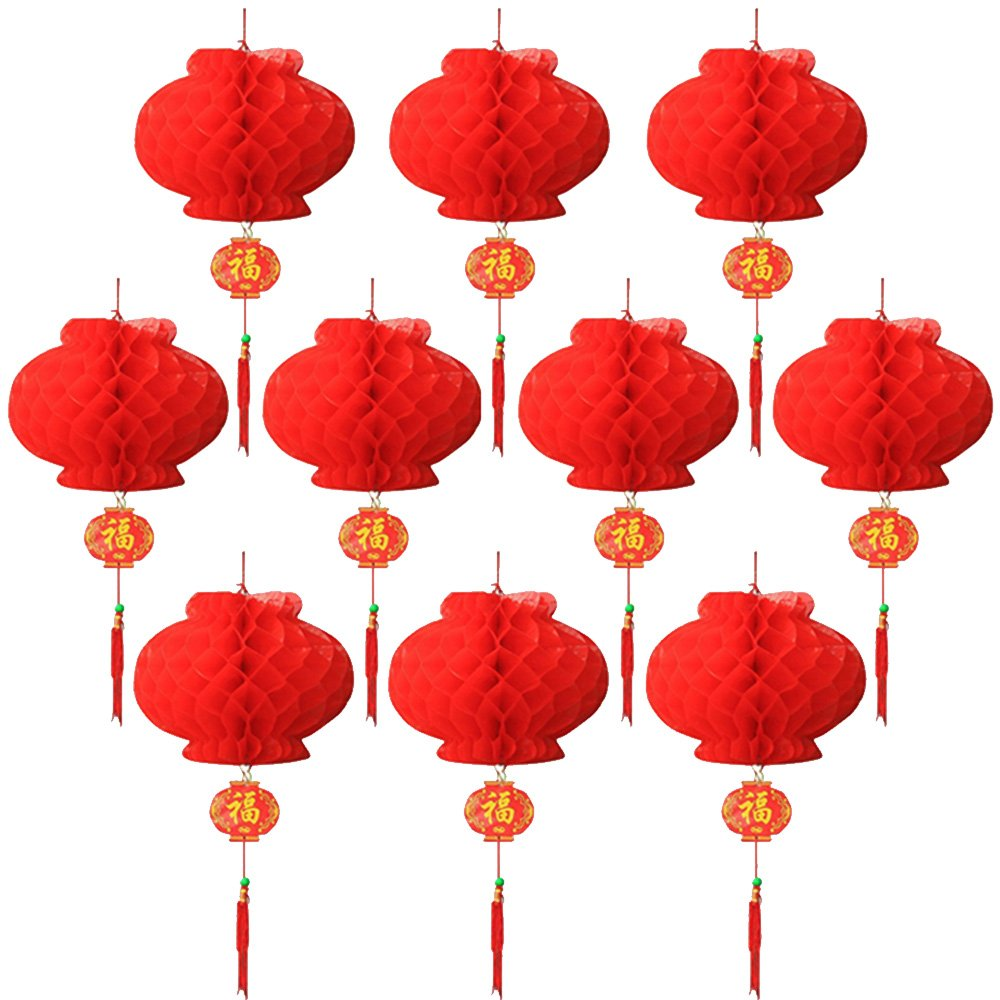 10 pack Red Lantern festival decoration For Wedding, New Year ,Chinese Spring Festival,26cm Diameter (Red) kasebay