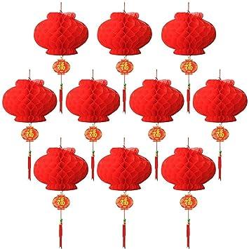 10 Pièces Lanternes Décorations Rouge pour le Nouvel An Chinois