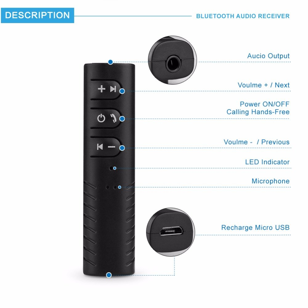 J&J ricevitore Bluetooth 4.1 wireless portatile adattatore audio 3.5 mm stereo output A2DP musica auto AUX IN CASA speaker MP3 con 3.5mm jack Receiver AUX Kit for Speaker Built-in mic (nero) Onever BTJJ1
