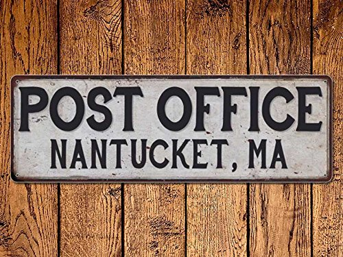 ACOVE Nantucket Ma Post Office Vintage Look Metal Sign Chic Retro - 4x18 inch