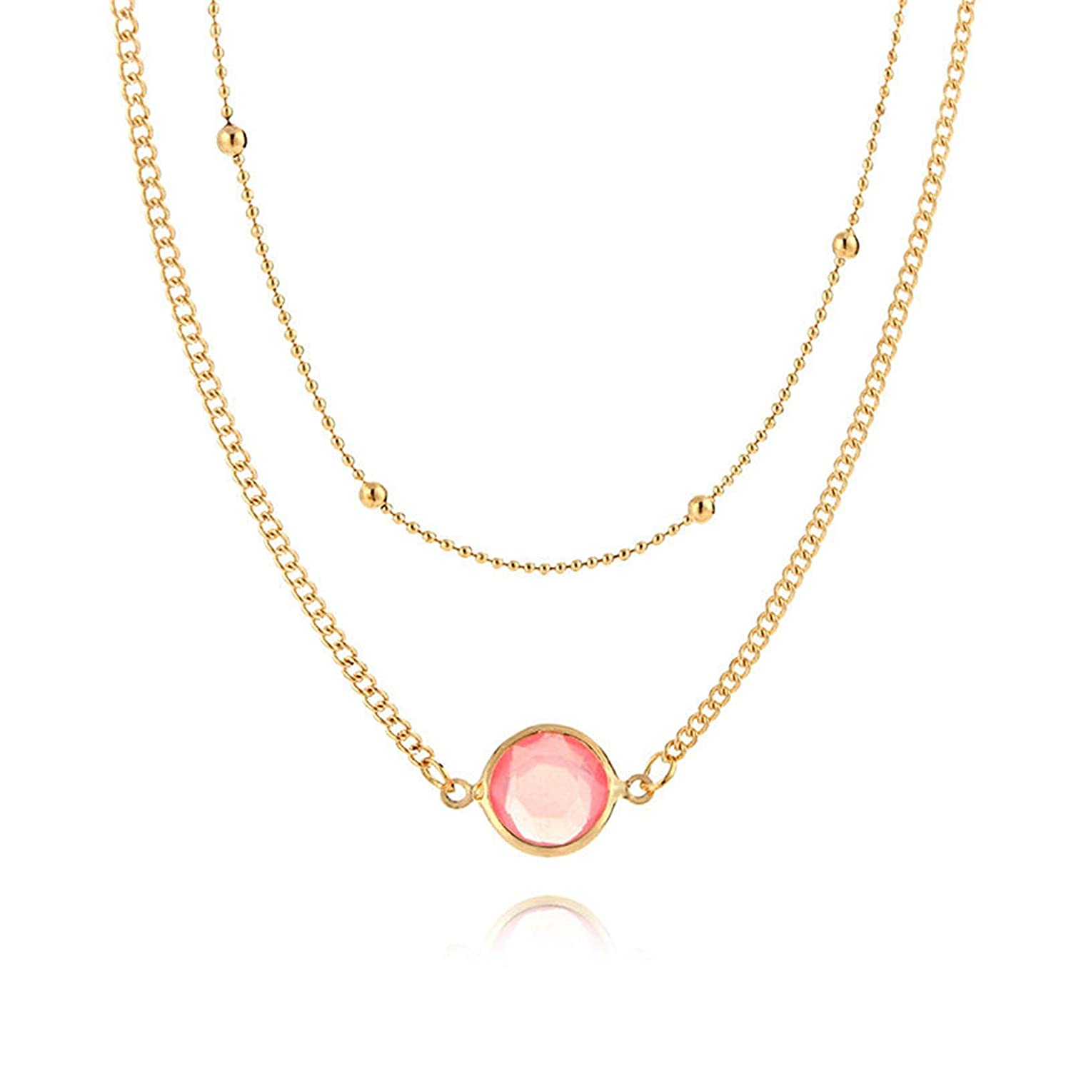 Epinki Gold Plated Women Necklace Round Opal 2 Layers Chain Adjustable Shape Pendant Beach Necklace
