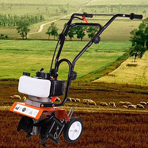 Ridgeyard 52cc Petrol Mini Cultivator Tiller 2 Stroke Engine 1.65KW Gas Outdoor Power Tillers w/ Transport Wheels and Foldable Handles by Ridgeyard