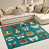 ALAZA French Bulldog Pug Chihuahua Puppy Dog Area Rug Rugs for Living Room Bedroom 7' x 5'