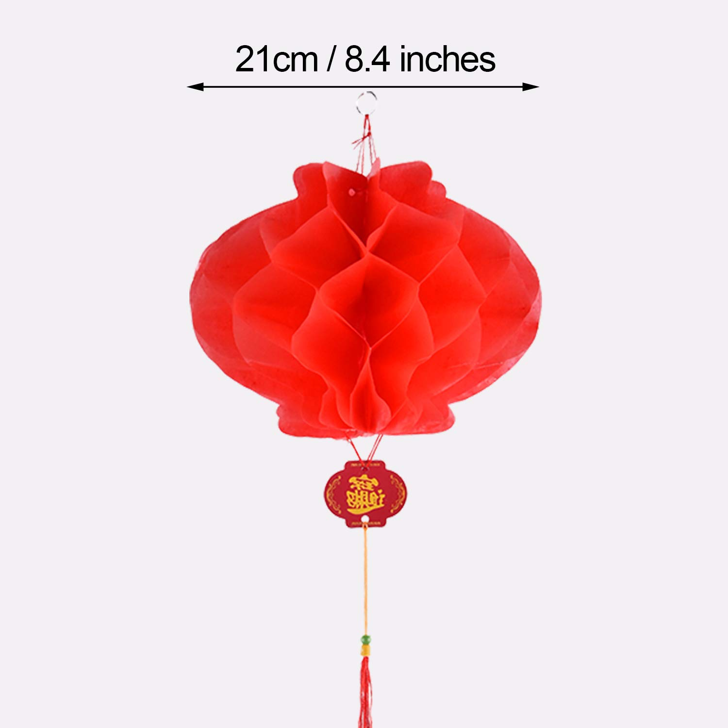Tatuo 30 Pieces Red Plastic Paper Lantern Red Hanging Lanterns for Chinese Spring Festival Wedding Festive Decoration 8.4 Inches