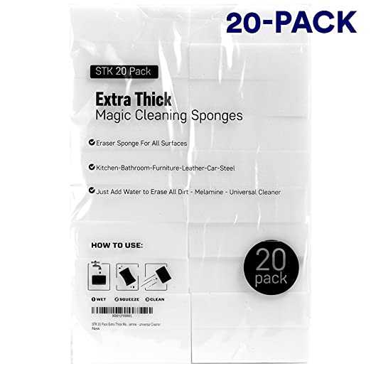 STK 20 Pack Extra Thick Magic Cleaning Sponges - Eraser Sponge For All Surfaces - Kitchen-Bathroom-Furniture-Leather-Car-Steel - Just Add Water to Erase All Dirt - Melamine - Universal Cleaner