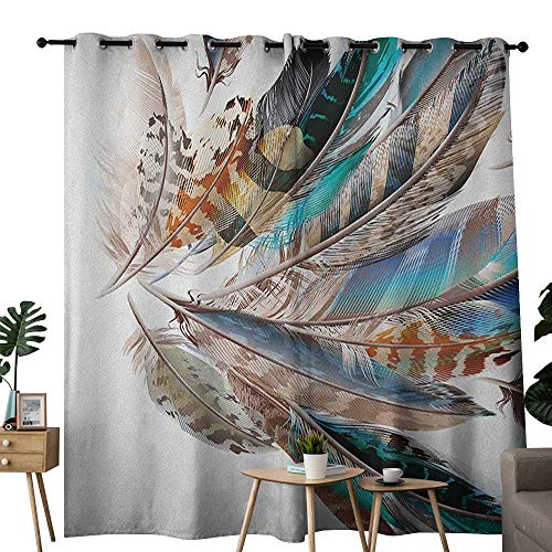 NUOMANAN Window Curtain Fabric Feathers,Vaned Types and Natal Contour Flight Bird Feathers and Animal Skin Element Print, Teal Brown,Rod Pocket Curtain Panels for Bedroom & Living Room 100