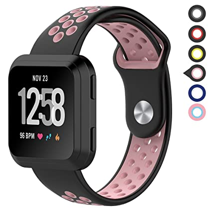 Meifox Fitbit Versa Bands for Women Men Small Large,Silicone Material Waterproof Breathable Replacement Accessories with Air Holes for Fitbit Versa ...