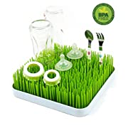 Bottle Drying Rack,High Capacity Oval-shaped Version,Dish and Baby Accessories Dryer Stand and Drainer Mat,Green.